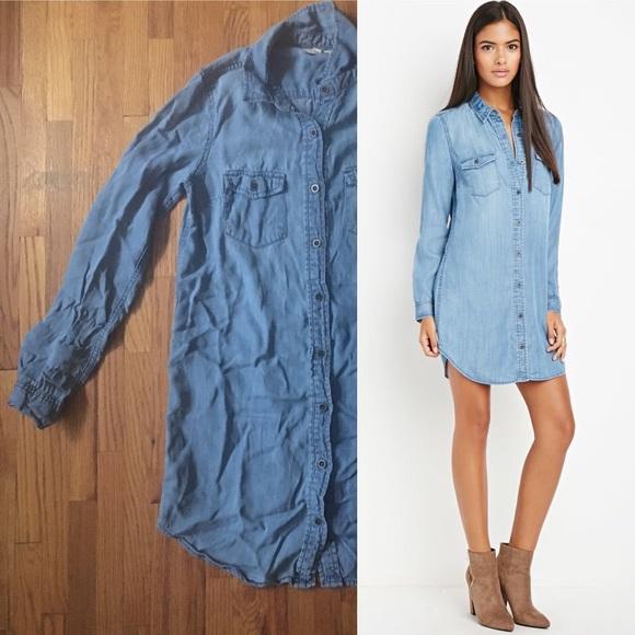 05c58ec0ed Forever 21 Dresses   Skirts - Life in Progress Denim Shirt Dress (Forever  ...